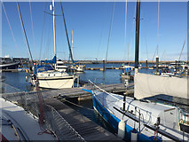 SY6874 : Boats moored on Pier M, Portland Marina by Robin Stott