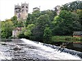 NZ2742 : Weir on the River Wear, Old Fulling Mill and Durham Cathedral : Week 42