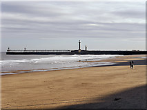 NZ8911 : Whitby Sands and West Pier by David Dixon