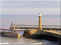 NZ8911 : Whitby Harbour, West Pier Lighthouse by David Dixon