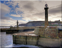 NZ8911 : West Pier Lighthouse, Whitby Harbour by David Dixon