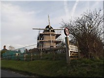 TL4138 : Chishill Mill, under repair by David Howard
