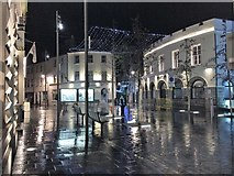 SC2667 : Castletown square on a very wet and cold evening by Richard Hoare