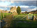 SE0837 : Gate on footpath approaching Ivy House Farm, Harden by Humphrey Bolton