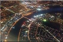 TQ2575 : River Thames at Wandsworth Bridge at night, from the air by Mike Pennington