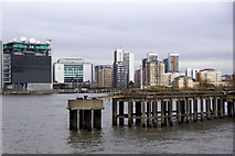 TQ3880 : Old jetty beside the O2 Arena at North Greenwich by Mike Pennington