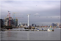 TQ3979 : Boats on the Thames at North Greenwich by Mike Pennington