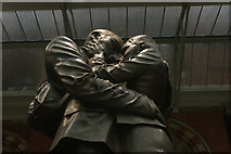 "TQ3083 : Looking up at the ""Lovers"" statue in St. Pancras station by Robert Lamb"