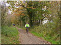 SJ6467 : Cyclist on the Whitegate Way by Stephen Craven