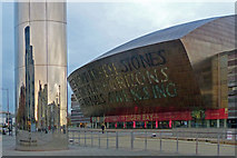 ST1974 : The Water Tower and Wales Millennium Centre, Cardiff Bay by Robin Drayton