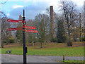 SK5805 : Path and signpost at Abbey Park by Mat Fascione