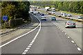 SJ5680 : Westbound M56 near Preston on The Hill by David Dixon