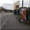 ST3087 : KFC advert on a BT phonebox, Mendalgief Road, Newport by Jaggery