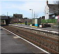 SS5499 : Passenger shelter on platform 2, Bynea railway station, Carmarthenshire by Jaggery