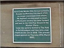 SD5193 : Plaque at Stricklandgate Methodist Church, Kendal by David Hillas