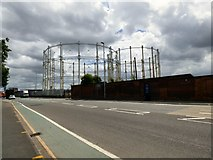 SJ8198 : Gas Holders at New Windsor by Gerald England