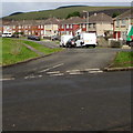 SS8987 : Junction of Heol Dewi Sant and Pen Parcau, Bettws by Jaggery