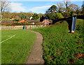SO3828 : Children's slide and molehills, Ewyas Harold by Jaggery