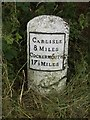 NY3048 : Old Milestone by the A595, west of West Woodside by CF Smith