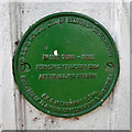 TL0549 : Plate on Suspension Bridge, Bedford by Robin Webster