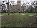 TQ3276 : Paths crossing, Churchyard of St Giles, Camberwell, south London by Robin Stott