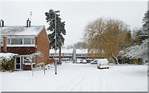 SO9095 : Housing and snow in Hinstock Close, Penn, Wolverhampton by Roger  Kidd