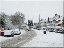 SO9095 : Snow on Mount Road in Penn, Wolverhampton by Roger  Kidd