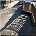 SE2933 : Leeds Town Hall, railings and shadows by Alan Murray-Rust