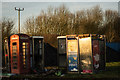 SK3615 : Abandoned telephone boxes, Packington by Oliver Mills