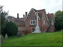 TL5234 : War memorial and Church House, Newport by Robin Webster
