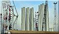 J3677 : Wind turbine masts, Belfast harbour - December 2017(2) by Albert Bridge