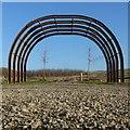 SK6144 : Memorial Garden, underground roadway hoops by Alan Murray-Rust