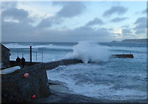 SW3526 : Huge waves on the breakwater at Sennen Cove during storm Eleanor by Rod Allday