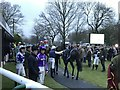 TL2072 : Jockeys and horses about to leave the parade ring at Huntingdon Racecourse by Richard Humphrey