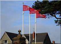 J3731 : Company flags at the entrance to Slieve Donard Hotel, Newcastle by Eric Jones