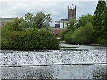 SK3536 : River Derwent weir in Derby city centre by Mat Fascione