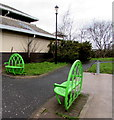 SP0189 : Green metal benches outside Smethwick Galton Bridge railway station  by Jaggery