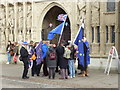 SX9292 : Brexit protesters, Cathedral Green, Exeter by Chris Allen