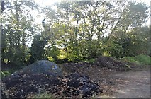 SX4060 : Piles of aggregate in a layby by the A388 by N Chadwick