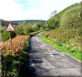 SS9792 : Speed bump and speed bump warning sign in Clydach Vale Country Park by Jaggery