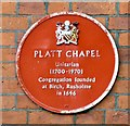 SJ8594 : Platt Chapel: Plaque by Gerald England
