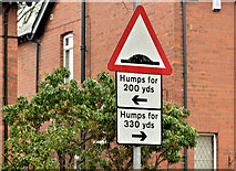 "J3673 : ""Humps"" sign, Belfast (February 2018) by Albert Bridge"