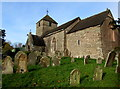 SO3727 : St Peter's church and churchyard, Rowlestone by Jaggery