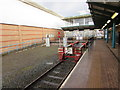SJ3350 : Southern end of the Borderlands Line in Wrexham Central station by Jaggery