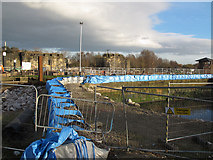 SE3231 : Blue bags at Knowsthorpe locks by Stephen Craven