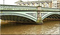 J3473 : The muddy River Lagan, Belfast (February 2018) by Albert Bridge