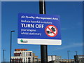 """TQ2081 : Road sign """"Turn off your engine whilst stationary"""" by David Hawgood"""