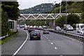 SH8379 : Footbridge over the A55 near Llandrillo-yn-Rhôs by David Dixon