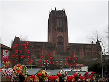 SJ3589 : Anglican  Cathedral  from  Great  George  Square by Martin Dawes