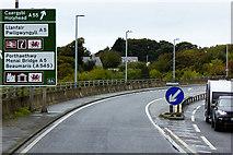 SH5371 : The A55 at Menai Bridge by David Dixon